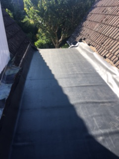 Felt roof after repairs